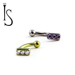 Industrial Strength Titanium Fixed Top Channel-set 3 Gem Curved Barbell with Threaded Ball End 16 Gauge 16g