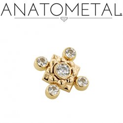 Anatometal 18kt Gold Kira Threaded End with 4 Bezel-set Gems 18g 16g 14g 12g