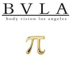 "BVLA 14kt Gold ""Pi"" Symbol Threaded End Dermal Top 18g 16g 14g 12g Body Vision Los Angeles"