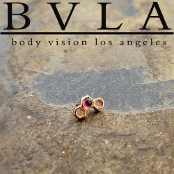 "BVLA 14Kt Gold ""Honeycomb"" Threadless End 18g 16g 14g ""Press-fit"""