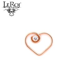"LeRoi 14kt Gold ""Divine"" Heart with 2.5mm Bezel-set Gem Daith Ring 20 Gauge 20g"
