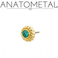 "Anatometal 18kt Gold Purity Threadless End 3.0mm Gem 18 Gauge 18g ""Press-fit"""