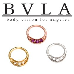 "BVLA 14kt Gold ""Lacey"" Nose Nostril Septum Ring 12g Body Vision Los Angeles"