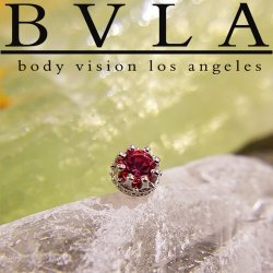 "BVLA 14kt Gold ""Crown"" 5mm Threaded Gem End Dermal Top 18g 16g 14g 12g Body Vision Los Angeles"