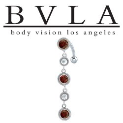 "BVLA 14kt Gold ""Navarra"" Mozambique Garnet & CZ Navel Curved Barbell 14 gauge 14g Body Vision Los Angeles"