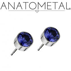 Anatometal Titanium 5mm Bezel-set Gem Earrings (Pair)