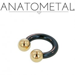 Anatometal Niobium Circular Barbell with Titanium Ball Ends 8 Gauge 8g