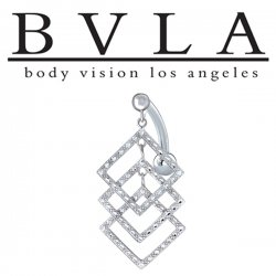 BVLA 14kt Gold Solace Genuine Diamond Navel Curved Barbell 14 Gauge 14g Body Vision Los Angeles