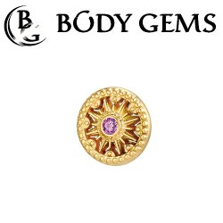 "Body Gems 14kt Gold ""Sun Dial"" Threaded End Dermal Top 18 Gauge 16 Gauge 14 Gauge 12 Gauge 18g 16g 14g 12g"