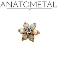"Anatometal 18kt Gold Threadless Flower End 2mm gems 18 Gauge 18g ""Press-fit"""
