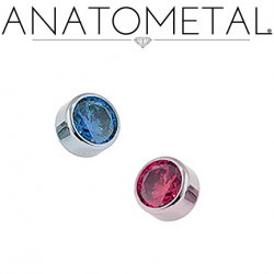 Anatometal Titanium Threaded 5mm Bezel-set Faceted Gem End 14 Gauge 12 Gauge 10 Gauge 8 Gauge 14g 12g 10g 8g