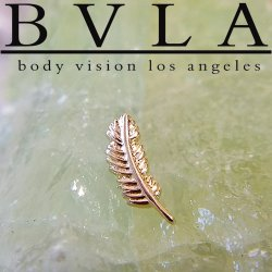 BVLA 14kt Yellow White Rose Gold Feather Threaded End 18g 16g 14g 12g Body Vision Los Angeles
