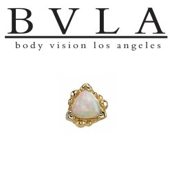 "BVLA 14Kt Gold Beaded ""Trillion"" Threaded End Dermal Top 18g 16g 14g 12g Body Vision Los Angeles"