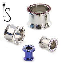 "Industrial Strength Titanium Double Flared ""Single Row"" Multi Gem Eyelets 8g - 1"""