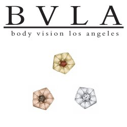 "BVLA 14Kt Gold ""Morning Glory"" Threaded End Dermal Top 18g 16g 14g 12g Body Vision Los Angeles"