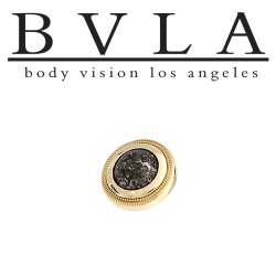 BVLA 14Kt Gold Millgrain Bezel Threaded End Dermal Top 8.5mm 18g 16g 14g 12g Body Vision Los Angeles