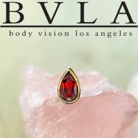 "BVLA 14kt Gold Bezel-set Faceted Pear 5mm x 3mm Threadless End 18g 16g 14g ""Press-fit"""