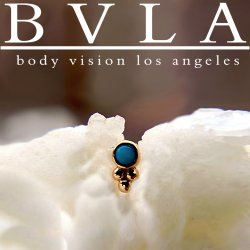 "BVLA 14kt Gold 1.5mm Bezel with 3 Beads Threadless End 18g 16g 14g ""Press-fit"""