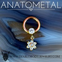 Anatometal Titanium Captive Gem Bezel Ring with 5.5mm Flower Dangle 16 Gauge 16g