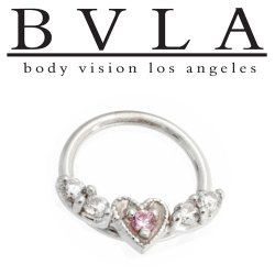 BVLA 14kt Gold Flying Heart Septum Clicker Hinge Ring 14 Gauge 14g Body Vision Los Angeles
