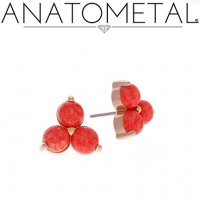 Anatometal 18kt Gold Trio Earrings 2mm Cabochon Gems (Pair)