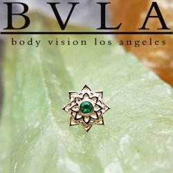 "BVLA 14kt Gold ""Sol"" Threadless End 18g 16g 14g ""Press-fit"""