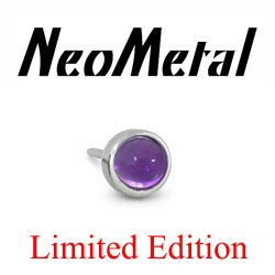 "18 Gauge 18g NeoMetal Limited Ed. Threadless Titanium Bezel 3mm Cabochon Amethyst Gem End ""Press-fit"""