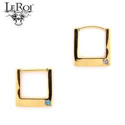 LeRoi 14kt Gold Geometric Square Clicker Hinge Ring With Gem 14 Gauge 14g