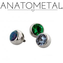 Anatometal Titanium Threaded Gem Ball End 2 gauge 2g