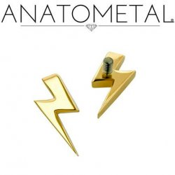 Anatometal 18kt Gold Threaded Lightning Bolt End 18g 16g 14g 12g