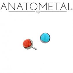 Anatometal Titanium Threadless 2.5mm Prong-Set Cabochon Gem End 18g 16g 14g (25g Pin Universal) Threadless Posts Press-fit