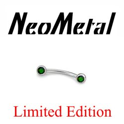 "18 Gauge 18g Limited Edition NeoMetal Threadless Titanium Side-set Faceted Black Opal 3/8"" Curved Barbell ""Press-fit"""