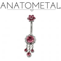 Anatometal Titanium Aurora Navel Curve Belly Button Ring 5.5mm Flower w/ Dangles 14 Gauge 14g