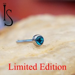 "Industrial Strength Stainless Surgical Steel Nose Bone 2mm Bezel-set Blue Zircon 5/16"" Length 20 Gauge 20g Limited Edition"