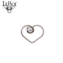 "LeRoi Surgical Steel ""Divine"" Heart with 2.5mm Bezel-set Gem Daith Ring 20 Gauge 18 Gauge 16 Gauge 20g 18g 16g"
