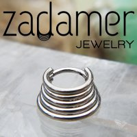Zadamer Titanium Quintuple Stacked Septum Clicker Daith Helix Hinged Ring 16 Gauge 14 Gauge 16g 14g