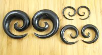 "Organic Black Horn Spirals 12g-1"" (Pair) 2mm-25.5mm"