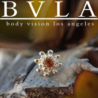 "BVLA 14kt Gold ""Indian Wheel"" Threaded End Dermal Top 18g 16g 14g 12g Body Vision Los Angeles"