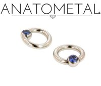 "Anatometal Surgical Stainless Steel 6mm Gem 5/16"" Captive Bead Ball Closure Ring 6g 6 Gauge"