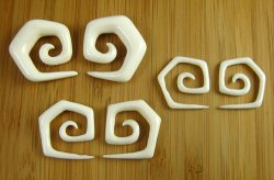 Organic Water Buffalo Bone 5 Corner Spirals 12g-0g (Pair) 2mm-8mm