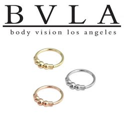 BVLA 14kt Gold Myla 3 Bead Nose Nostril Septum Ring 18g Body Vision Los Angeles
