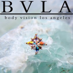 "BVLA 14kt Gold ""Mini Pleades"" Threaded Gem End Dermal Top 18g 16g 14g 12g Body Vision Los Angeles"