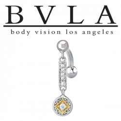BVLA 14kt Gold Genoa Dance Dangle Genuine Diamond Navel Curved Barbell 14 Gauge 14g Body Vision Los Angeles