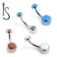 IS Titanium Navel Curve Belly Button Ring Barbell 4mm 6mm Bezel-set Opal Cabochon 14 Gauge 14g Industrial Strength