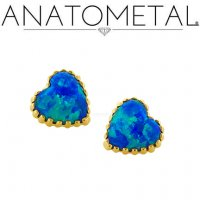"Anatometal 18kt Gold Threadless Opal Heart 18 Gauge 18g ""Press-fit"""