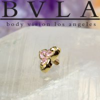 "BVLA 14Kt Gold ""Integrity\"" Threaded End Dermal Top 18g 16g 14g 12g Body Vision Los Angeles"