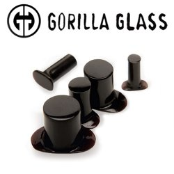 Gorilla Glass Obsidian Labrets 0 Gauge to 1""