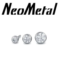 "18 gauge 18g NeoMetal Threadless Titanium Bezel-Set Genuine Diamond End 1.5mm, 2mm, 2.5mm ""Press-fit"""