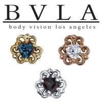 "BVLA 14Kt Gold ""Lamia Trillion"" Threaded End Dermal Top 18g 16g 14g 12g Body Vision Los Angeles"