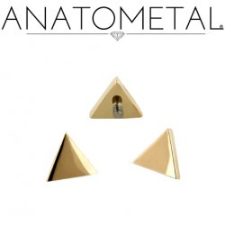 Anatometal 18Kt Gold Threaded Triangle End 4mm 18g 16g 14g 12g
